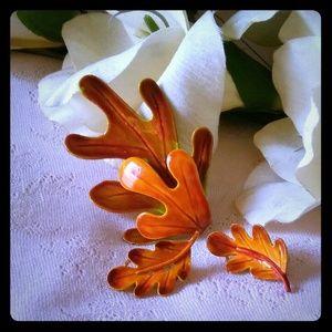 Jewelry - Vintage Orange Enamel Leaf Brooch & Earrings